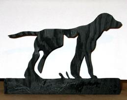Halländskt hantverk Servetthållare / brevställ i trä Svart målad ca 15x18 cm  Hund o katt