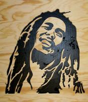 Halländskt hantverk Bob Marley Svart mot natur botten