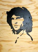 Halländskt hantverk Jim Morrison Svart på natur botten