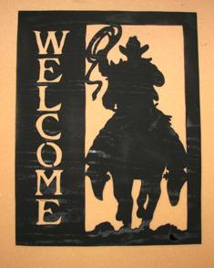 Välkomstskylt Ridande cowboy - Välkomstskylt Ridande cowboy