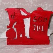 Brevställ / servetthållare Tomte med säck God jul