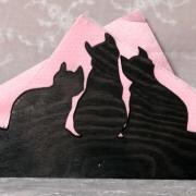 Servetthållare / brevställ Tre katter