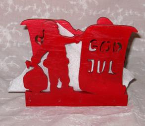 Brevställ / servetthållare Tomte med säck God jul - Brevställ / servetthållare Tomte med säck God jul
