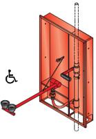 ögondusch inbyggnad i vägg med aktiveringshandtag