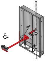ögondusch för inbyggnad i vägg nöddusch aktivering