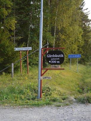 Bild från infarten till Kvarnå Trädgård sommaren 2015