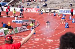 SM i friidrott, start på finalen i 400 m häck, Stockholms Stadion