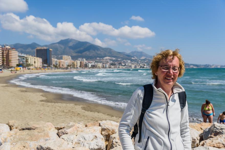 Fuengirola med den enda stranden på hela resan. Kallt var det!