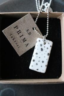 Halsband porslin/silver dots -