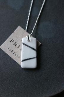 Halsband porslin/silver line -