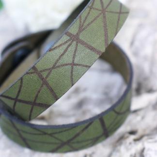 Läderarmband Stripe Mörkgrön till henne - S dam: ca 17,5 cm runt handleden
