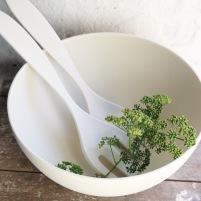 Stor skål naturmaterial vit