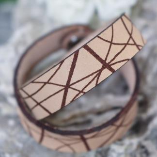Läderarmband Stripe Natur till henne - S dam: ca 17,5 cm runt handleden