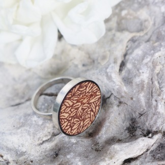 Botanical leather ring - S: (storlek 6,5)