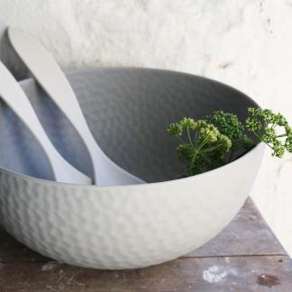 Stor hamrad skål naturmaterial grå -
