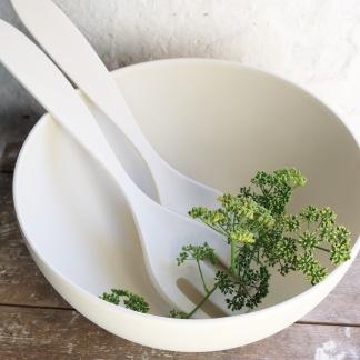Stor skål naturmaterial vit -