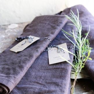 Linnehandduk gråbrun -