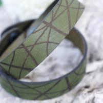 Läderarmband Stripe Mörkgrön till honom