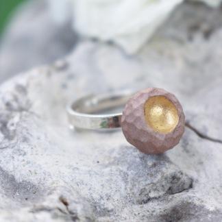 Ring Raw gold soft pink (liten sten) -