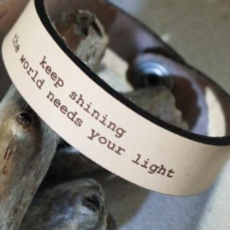 Läderarmband Keep shining - S: ca 17,5 cm runt handleden