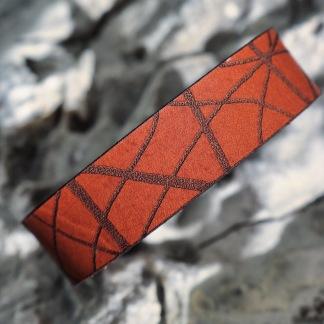 Läderarmband Stripe Brunt till henne - S dam: ca 17,5cm runt handleden