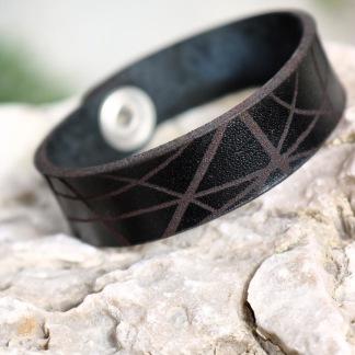 Läderarmband Stripe Svart till henne - S dam: ca 17,5cm runt handleden