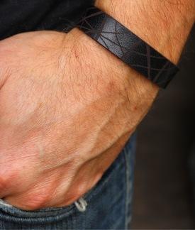 Läderarmband Stripe Svart till honom - S herr: ca 19cm runt handleden