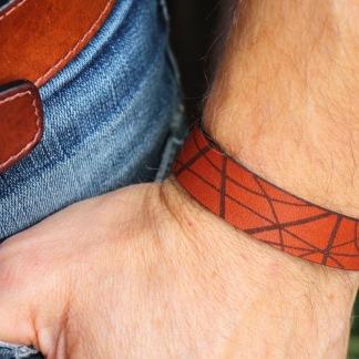 Läderarmband Stripe Brunt till honom - S herr: ca 19cm runt handleden