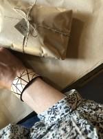 Läderarmband Stripe svart brett