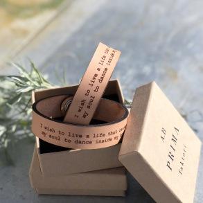 Läderarmband I wish to live.. Till honom - S ca 19 cm runt handleden