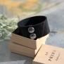 Läderarmband Stripe svart brett - L dam ca 19cm mellan knapparna