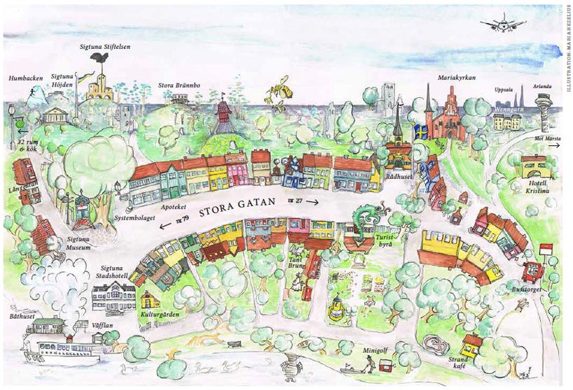 sigtuna karta Tecknad karta över staden   Sigtuna Stads Företagare sigtuna karta