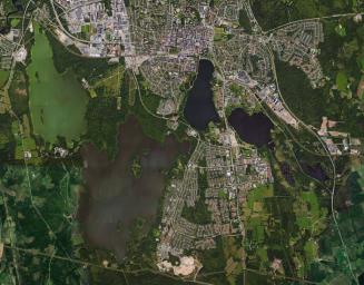 Flygbild över Växjösjöarna