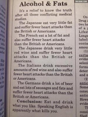 Ät och drick, men akta dig för att prata engelska! Ha! (Artikel från 9GAG)