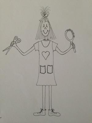 Teckningen har jag själv gjort för länge sedan till ett annat barnboksprojekt. Som ni förstår behöver jag professionell hjälp!