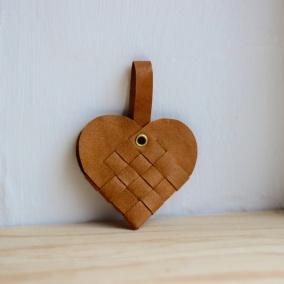 Julgranshjärta (flera färger) - Brunt läder