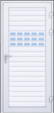 Komplettera rullporten med en dörr i samma mönster och färg. Du kan välja samma typ av inglasning som rullporten.