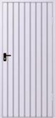 Ståldörr med ifyllnad av trapetsplåt T-10, vertikal ifyllnadsriktning