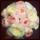 Rund brudbukett med David Austin rosor i cream/vit, aprikos