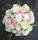 Klassisk rundbunden rosbukett till brudbukett i vita och rosa rosor