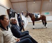 Att sitta hos Tinne och lyssna på undervisningen har ett högt värde hos mig. Maggan filmar åt Annelie som rider.