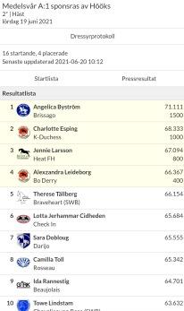 Resultat med Camilla i sadeln :).