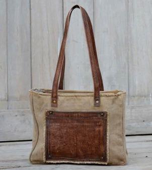 Väska i skinn/canvas