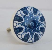 Porslinsknopp blå/vit