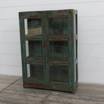 Gammalt Vintageskåp Med Glassidor
