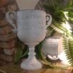 Pokal i plåt, vit, två storlekar