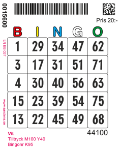 Nummerbricka typ S (Singelbricka) - Nummerbricka typ S Vit
