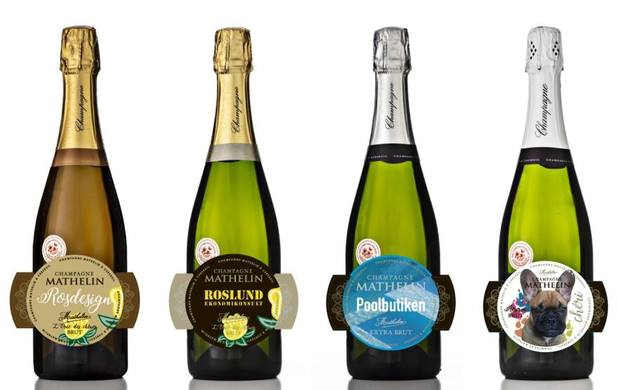 Exmempel på hur det skulle kunna se ut med egendesignad etikett på din utvalda flaska Champagne Mathelin.