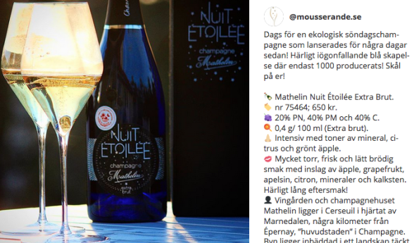 FOTO: Mousserande.se. Instagramrecension.