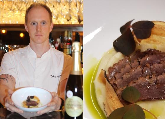 Tobias Andersson, Edsbacka Bistro Strängnäs, bjöd på champagneinspiration på hög nivå. Vildand med ekfatslagrad Champagne Mathelin.